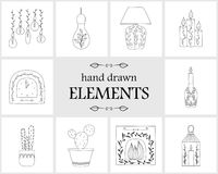 Elementos e iconos dibujados mano del logotipo Imagenes de archivo
