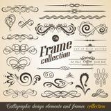 Elementos e quadros caligráficos do projeto Coleção do vintage Vetor ilustração royalty free