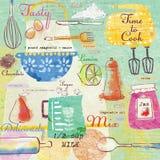 Elementos elegantes del diseño: bifurcación, cuchara, cuenco, mezclador, limón, cuchillo y otros Fondo del alimento Imagen de archivo