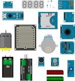 Elementos eletrônicos de Arduino ilustração do vetor