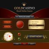 Elementos em linha do molde do Web do casino Imagens de Stock Royalty Free
