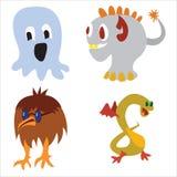 Elementos engraçados do projeto do caráter bonito da cor do monstro ilustração royalty free