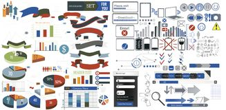 Elementos enormes del diseño web de la colección Imagenes de archivo