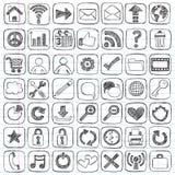 Elementos esboçado do projeto do computador do ícone do Web do Doodle Fotos de Stock Royalty Free