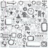 Elementos esboçado do projeto do computador do ícone do Web do Doodle Imagem de Stock