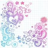 Elementos esboçado do projeto do vetor dos Doodles do amor dos corações ilustração stock