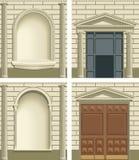 Elementos exteriores de la fachada de la obra clásica Imagen de archivo libre de regalías