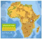 Elementos físicos planos del constructor del mapa de África en el surfa del agua Imagenes de archivo