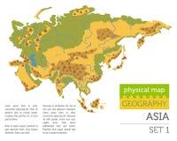 Elementos físicos planos del constructor del mapa de Asia aislados en blanco B ilustración del vector