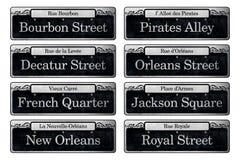 Elementos famosos del libro de recuerdos de Digitaces de las placas de calle de New Orleans Imagen de archivo libre de regalías