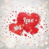 Elementos felices del día de tarjetas del día de San Valentín y del diseño del weeding Ilustración del vector Fondo rosado con lo Imagen de archivo libre de regalías