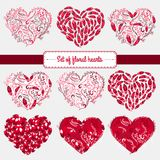 Elementos felices del día de tarjetas del día de San Valentín y del diseño del weeding Ilustración del vector Fondo rosado con lo Imágenes de archivo libres de regalías