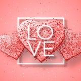 Elementos felices del día de tarjetas del día de San Valentín y del diseño del weeding Ilustración del vector Fondo rosado con lo Fotos de archivo