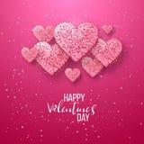 Elementos felices del día de tarjetas del día de San Valentín y del diseño del weeding Ilustración del vector Fondo rosado con lo Imagen de archivo