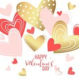 Elementos felices del día de tarjetas del día de San Valentín y del diseño del weeding Ilustración del vector Fondo rosado con lo Fotos de archivo libres de regalías