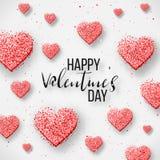 Elementos felices del día de tarjetas del día de San Valentín y del diseño del weeding Ilustración del vector Fondo rosado con lo Imagenes de archivo