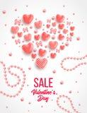 Elementos felices del día de tarjetas del día de San Valentín y del diseño del weeding Ilustración del vector Fondo rosado con lo Foto de archivo libre de regalías