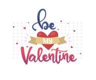 Elementos felices del diseño del día de tarjetas del día de San Valentín Letras del vector del dibujo de la mano Sea mi tarjeta d Imagen de archivo