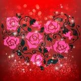 Elementos felizes do dia de Valentim e do projeto da remoção de ervas daninhas Fotografia de Stock Royalty Free