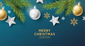 Elementos festivos del vector de la bandera de la Navidad stock de ilustración