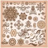 Elementos florais abstratos do projeto da ilustração do vintage para o greetin Imagens de Stock Royalty Free