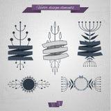 Elementos florais com fita 04 ilustração stock