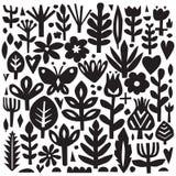 Elementos florais de papel Entalhe floral Silhuetas da planta do vetor Estilo escandinavo Coleção botânica Imagem de Stock Royalty Free