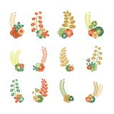 Elementos florais decorativos fotos de stock