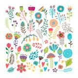 Elementos florais desenhados mão ilustração stock