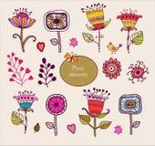 Elementos florais desenhados mão. Grupo de flores. Fotos de Stock Royalty Free