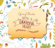 Elementos florais do cartão da ação de graças e folhas de outono, bolotas Fotografia de Stock Royalty Free