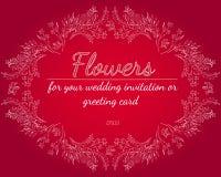 Elementos florais do projeto do quadro para seus convite e cart?o do casamento M?o desenhada Ramalhete das flores esbo?o ilustração royalty free
