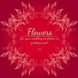 Elementos florais do projeto do quadro para seus convite e cart?o do casamento M?o desenhada Ramalhete das flores Estilo do esbo? ilustração stock