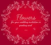 Elementos florais do projeto do quadro para seus convite e cart?o do casamento M?o desenhada Ramalhete das flores Estilo do esbo? ilustração do vetor