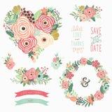 Elementos florais do Sharp do coração ilustração do vetor