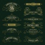 Elementos florais do vintage velho - fitas, monogramas, listras, linhas, ângulos, beira, quadro, etiqueta, logotipo Imagens de Stock