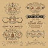 Elementos florais do vintage velho - fitas, monogramas, listras, linhas, ângulos, beira, quadro, etiqueta, logotipo Fotografia de Stock Royalty Free