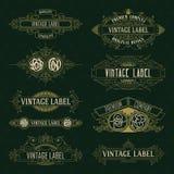 Elementos florais do vintage velho - fitas, monogramas, listras, linhas, ângulos, beira, quadro, etiqueta, logotipo Foto de Stock