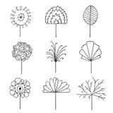 Elementos florales abstractos del diseño del dibujo lineal libre illustration