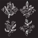 Elementos florales blancos y negros Fotografía de archivo libre de regalías