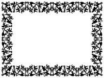 Elementos florales blancos y negros en marco en blanco Foto de archivo