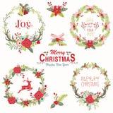 Elementos florales de la guirnalda de la Navidad stock de ilustración