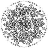 Elementos florales decorativos del modelo de la mandala Fotografía de archivo
