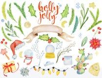Elementos florales del invierno de la acuarela de la Feliz Navidad Tarjeta de la Feliz Año Nuevo, carteles Flores, ramas spruce y Fotos de archivo