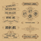 Elementos florales del viejo vintage - cintas, monogramas, rayas, líneas, ángulos, frontera, marco, etiqueta, logotipo Foto de archivo