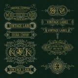 Elementos florales del viejo vintage - cintas, monogramas, rayas, líneas, ángulos, frontera, marco, etiqueta, logotipo Foto de archivo libre de regalías