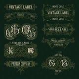 Elementos florales del viejo vintage - cintas, monogramas, rayas, líneas, ángulos, frontera, marco, etiqueta, logotipo Imagen de archivo
