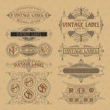 Elementos florales del viejo vintage - cintas, monogramas, rayas, líneas, ángulos, frontera, marco, etiqueta, logotipo Imagenes de archivo