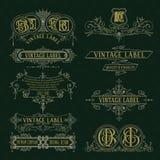 Elementos florales del viejo vintage - cintas, monogramas, rayas, líneas, ángulos, frontera, marco, etiqueta, logotipo Fotografía de archivo libre de regalías