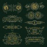 Elementos florales del viejo vintage - cintas, monogramas, rayas, líneas, ángulos, frontera, marco, etiqueta, logotipo Fotos de archivo